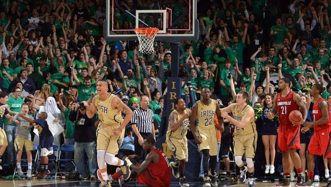 Notre Dame Fighting Irish forward Cameron Biedscheid (1) reacts as time expires in regulation forcing overtime against the Louisville Cardinals at the Purcell Pavilion.