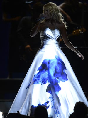 Carrie Underwood performs at the Grammys.