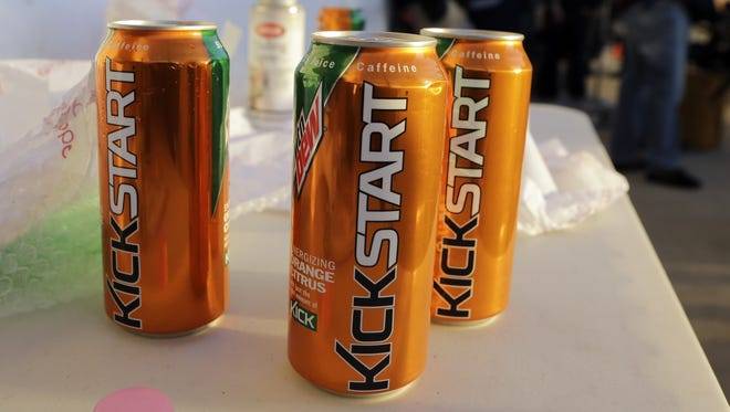 Cans of Kickstart during the filming of a commercial for the new PepsiCo product.