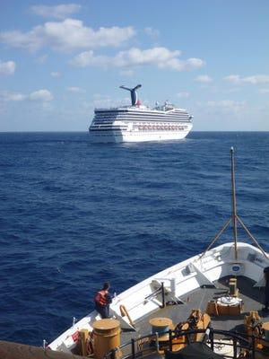 Carnival Cruise Lines' 102,000-ton Carnival Triumph in a photo taken Feb. 11, 2013 from the U.S. Coast Guard cutter Vigorous.