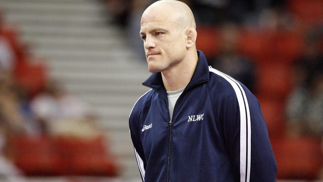Cael Sanderson is introduced during the USA Wrestling World Team Trials at the Cox Convention Center in Oklahoma City, June 11, 2011.