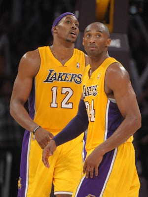 Lakers center Dwight Howard, left, and guard Kobe Bryant have had some interesting interactions this season.