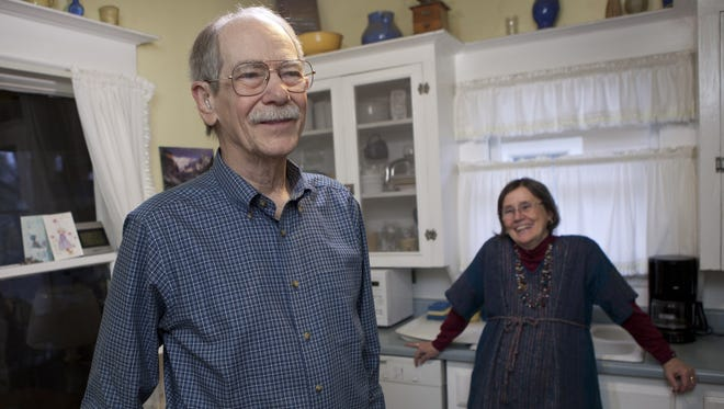Paul Geisert, 80, and his wife, Mynga Futrell, 68,  in the kitchen of their home in Sacramento, Calif.