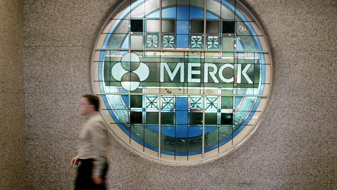 A stained-glass window bearing Merck's name on the main floor of the company's headquarters in Whitehouse Station, N.J.