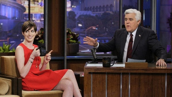 Anne Hathaway chats with Jay Leno.