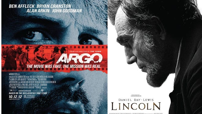 Promotional posters for the films 'Argo' and 'Lincoln'
