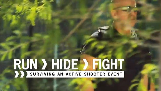 """A screengrab from """"Run, Hide, Fight,"""" a video  produced by the city of Houston."""