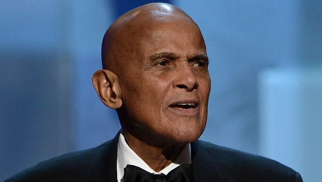 Harry Belafonte, Spingarn Medal honoree, speaks onstage during the 44th NAACP Image Awards in Los Angeles on Feb. 1.