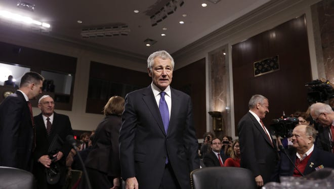 Chuck Hagel, nominated for secretary of Defense, arrives at his Senate hearing last month.