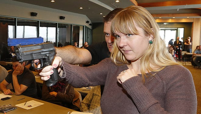 Fourth-grade teacher Joanna Baginska attends a concealed-weapons training class for Utah teachers in West Valley City in December.