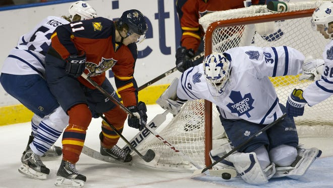 Toronto Maple Leafs goalie Ben Scrivens blocks a shot in the first period against the Florida Panthers. Toronto won 3-0.