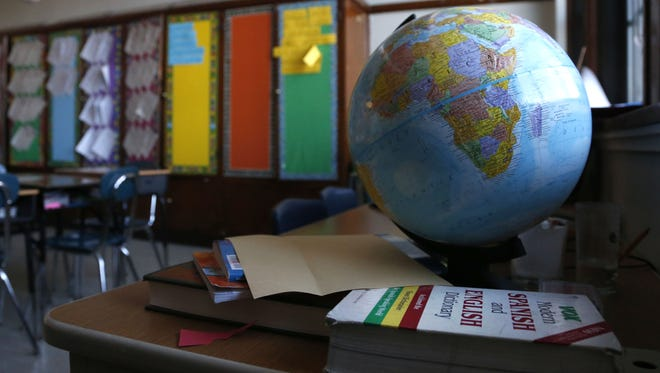 A globe sits in an elementary school classroom Feb. 1 in Chicago.