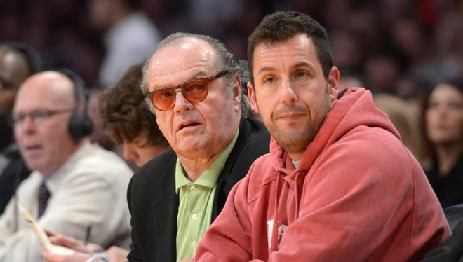 Actors Jack Nicholson (left) and Adam Sandler at last month's Los Angeles Lakers home game against the Oklahoma City Thunder.