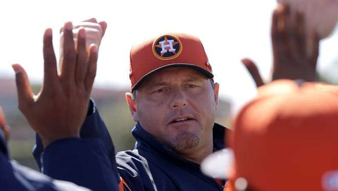 Roger Clemens has been highly visible at Astros camp.
