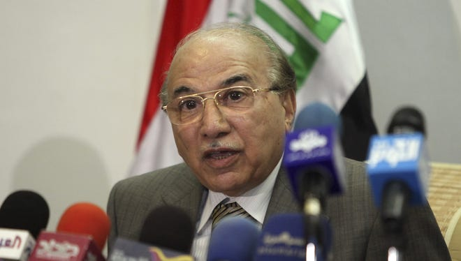 Medhat al-Mahmoud, Iraq's Supreme Court top judge, speaks to the press in Baghdad, in June 2010.
