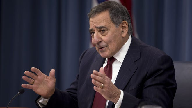 Defense Secretary Leon Panetta discusses potential budget cuts at the Pentagon during a news conference on Jan. 10.