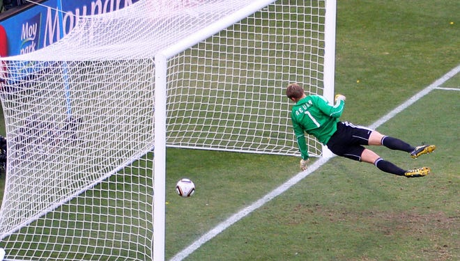 FIFA hopes that the use of goal-line technology will end errors like this famous one in the 2010 World Cup, when a shot from England's Frank Lampard bounced over the line against Germany but was not ruled a goal.