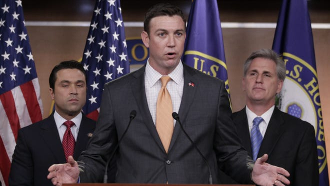 Rep. Duncan Hunter, R-Calif., speaks  during a news conference on Capitol Hill in April 2011.