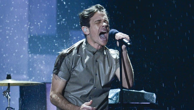 Nate Ruess of fun. performs 'Carry On' at the 2013 Grammy Awards.