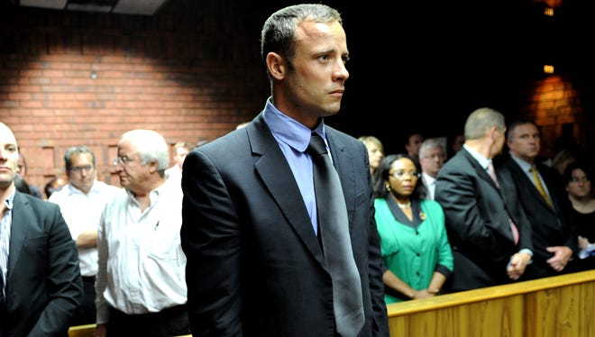 South African Olympic sprinter Oscar Pistorius at the Magistrate Court in Pretoria on Feb 19.