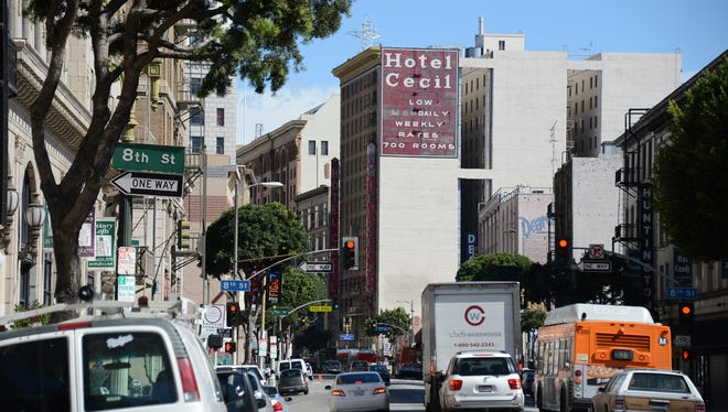 The exterior of the Cecil Hotel is seen in Los Angeles on Wednesday.