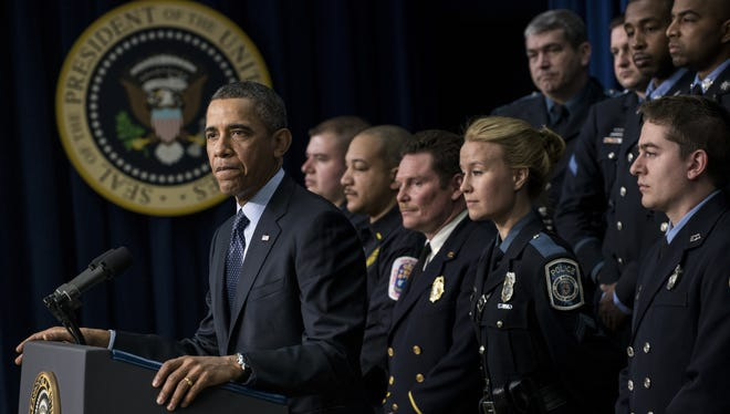 President Obama, joined by emergency responders Tuesday at the White House, encourages Congress to avoid sequester.