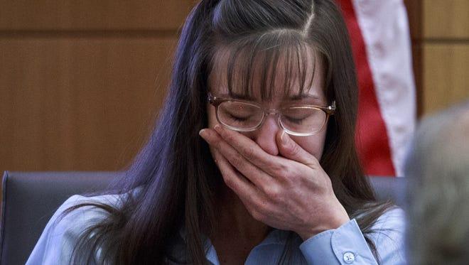 Defendant Jodi Arias testifies testifies in her murder trial on Wednesday, Feb. 20, 2013.