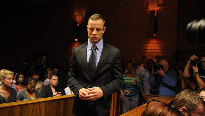 South African Olympic sprinter Oscar Pistorius appears on Thursday at the Magistrate Court in Pretoria, South Africa.