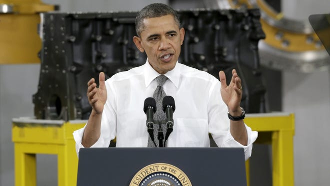President Obama speaks to workers at the Linamar plant in Arden, N.C., on Feb. 13.