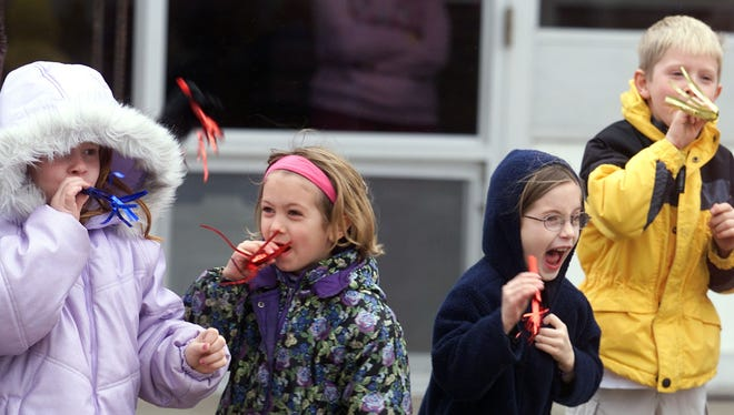 Kids in Burlington, Iowa, celebrate Hoodie-Hoo Day to chase away winter.