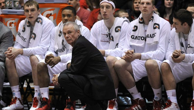 Wisconsin Badgers head coach Bo Ryan coaches against the Northwestern Wildcats during the second half at Welsh-Ryan Arena.