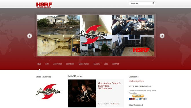 The website for the Hurricane Sandy Relief Foundation in this Feb. 22 screenshot.