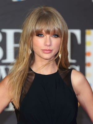 Taylor Swift arrives at the Brit Awards on Feb. 20 in London.