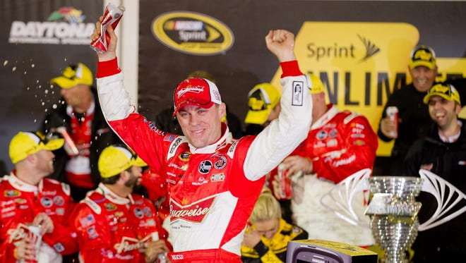 Kevin Harvick celebrates after winning the Sprint Unlimited on Feb. 16.
