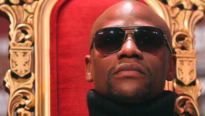 Floyd Mayweather during the press conference announcing his 2012 fight against Miguel Cotto.