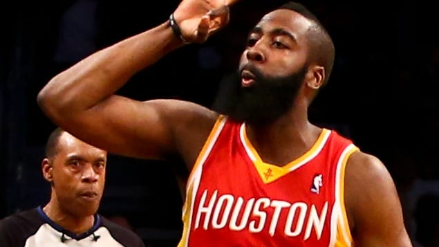 Houston Rockets shooting guard James Harden gestures after making a three-pointer against the Brooklyn Nets during the second half at Barclays Center.