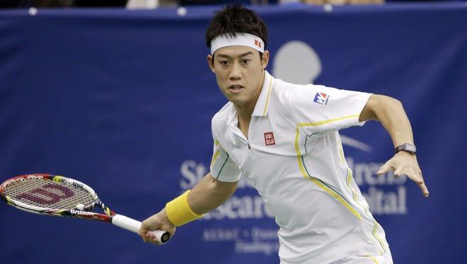 Kei Nishikori of Japan lines up a forehand during his victory Saturday against Marinko Matosevic of Australia.