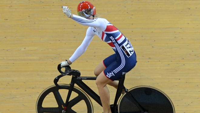 Britain's Rebecca James celebrates her gold medal in UCI Track Cycling World Championships Women's Sprint in Belarus' capital of Minsk.