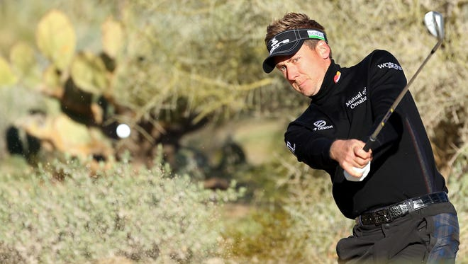 Ian Poulter of England will face Hunter Mahan in Sunday's World Golf Championship - Accenture Match Play semifinal round.