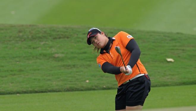 Ariya Jutanugarn of Thailand takes the lead after the third round of the Honda LPGA Thailand.