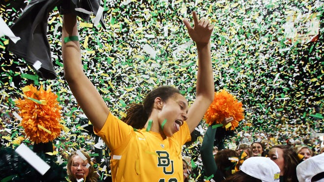 Baylor Bears center Brittney Griner celebrates winning the Big 12 Conference Title after the victory against the Texas Longhorns at the Ferrell Center.
