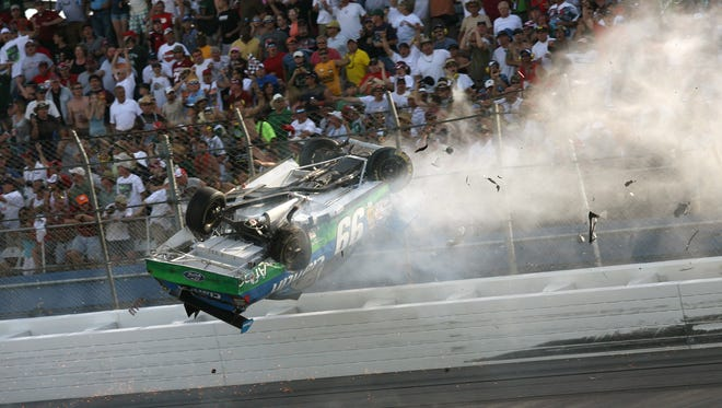 In April 2009, Sprint Cup Series driver Carl Edwards wrecks into the catch fence coming to the checkered flag during the Aarons 499 at Talladega Superspeedway.