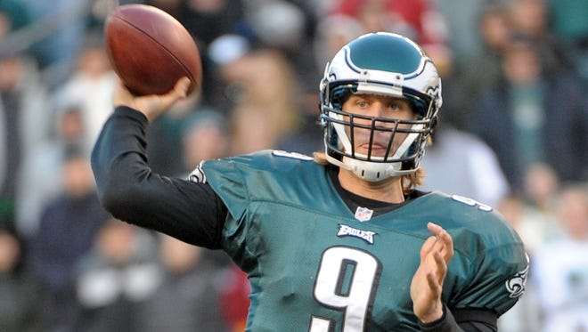 Philadelphia Eagles quarterback Nick Foles (9) throws in the pocket against the Washington Redskins at Lincoln Financial Field.  The Redskins defeated the Eagles, 27-20.