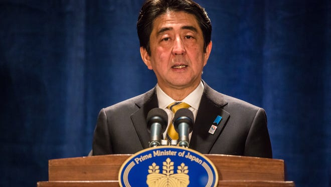 Japanese Prime Minister Shinzo Abe speaks at a news conference on Friday in Washington, D.C.
