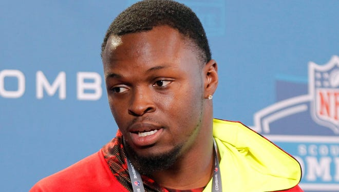 Georgia Bulldogs linebacker Alec Ogletree speaks at a press conference during the 2013 NFL Combine at Lucas Oil Stadium.