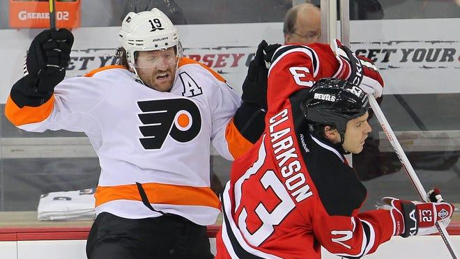 Philadelphia Flyers winger Scott Hartnell, left, last played against the New Jersey Devils on Jan. 22.