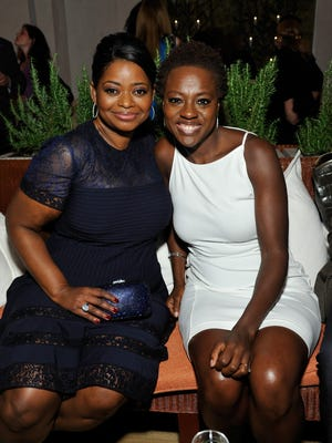 Octavia Spencer and Viola Davis attend the Women in Film's 6th Annual Pre-Oscar cocktail party on Feb. 22.
