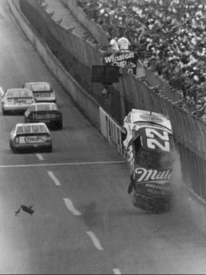 Bobby Allison's car becomes airborne during a wreck in a race at Talladega, Ala., in 1987.