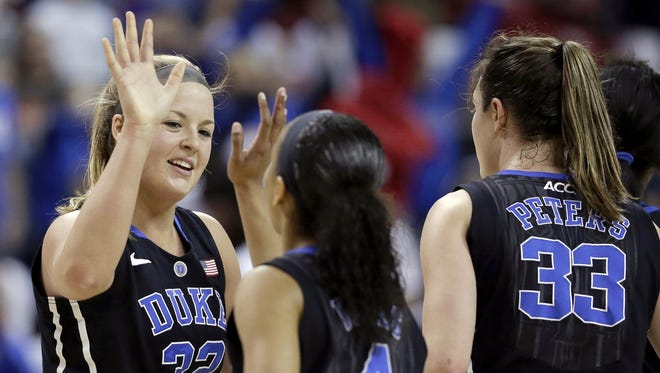 Duke guard Tricia Liston (32) high-fives Chloe Wells (4) and Haley Peters (33) during the game against Maryland in College Park, Md., Sunday, Feb. 24, 2013. Liston contributed 15 points to Duke's 75-59 win.