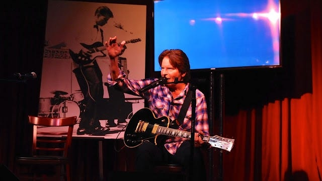 John Fogerty performs a solo version of Fortunate Son at Hotel Cafe in Hollywood on Feb. 22.